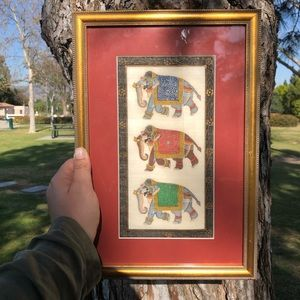 Vintage Hand Painted Elephant Tapastry Framed